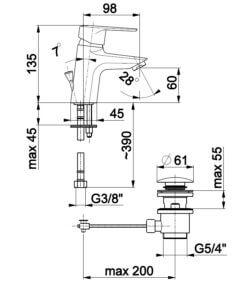 Armatura GERMAN baterija, 2 cevi KL