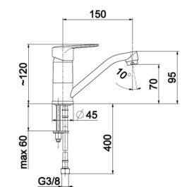 Armatura GERMAN baterija lavabo/sudopera, 2 cevi