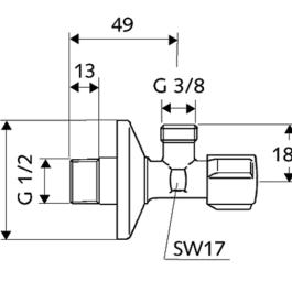 EK ventil 1/2x3/8 SCHELL