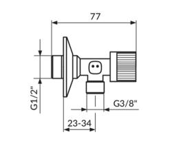 EK ventil 1/2x3/8 kugla Rosan
